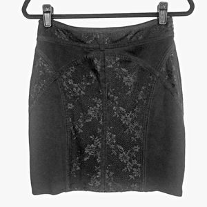 FREE PEOPLE black lace detail pencil skirt Sz S